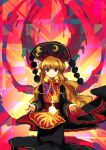 1girl absurdres beads black_dress blonde_hair chinese_clothes crescent dress energy eyebrows_visible_through_hair hat highres junko_(touhou) legacy_of_lunatic_kingdom long_hair long_sleeves looking_at_viewer multicolored multicolored_background neruzou open_hand orange_hair red_eyes ribbon smile solo tabard touhou wavy_hair wide_sleeves yellow_ribbon