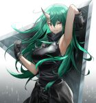 1girl arknights arm_up armband armor armpits black_gloves black_pants black_shirt breastplate breasts clenched_hand closed_mouth clothes_around_waist commentary cowboy_shot expressionless eyebrows_visible_through_hair gloves gradient gradient_background green_hair grey_background hair_between_eyes hannya_(arknights) highres holding holding_shield horns hoshiguma_(arknights) large_breasts long_hair looking_at_viewer oni_horns pants ri_qing scar scar_on_cheek scar_on_face shield shirt simple_background single_horn sleeveless sleeveless_shirt solo turtleneck white_background