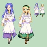 2girls apron black_footwear blonde_hair brown_footwear caster commentary_request dress emiya-san_chi_no_kyou_no_gohan fate/grand_order fate_(series) gerda_(fate) green_dress green_hairband hairband kappougi keykey117117 long_dress long_hair multiple_girls pointy_ears purple_dress purple_hair smile violet_eyes