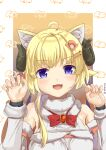 1girl :d absurdres ahoge animal_ear_fluff animal_ears bangs bare_shoulders blush bow breasts cat_ears claw_pose commentary_request curled_horns detached_sleeves eyebrows_visible_through_hair fur-trimmed_sleeves fur_trim hair_ornament hairclip hands_up highres hololive horns kemonomimi_mode long_hair medium_breasts nail_polish ohiensis open_mouth pink_nails red_bow sheep_ears sheep_girl sheep_horns smile solo tsunomaki_watame twitter_username upper_body v-shaped_eyebrows violet_eyes virtual_youtuber white_sleeves