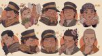3boys ainu_clothes alternate_costume bear blue_jacket blush brown_eyes brown_hair buttons chibi chin_stroking collared_jacket emoji expressions finger_to_mouth golden_kamuy hat headband highres imperial_japanese_army jacket kepi kotta_(pesan102) long_sleeves male_focus military military_hat military_uniform multiple_boys ogata_hyakunosuke party_hat party_whistle plant scar scar_on_cheek scar_on_face scar_on_mouth scar_on_nose scarf shiraishi_yoshitake short_hair shushing simple_background smile spiky_hair sugimoto_saichi uniform x_x yellow_scarf younger