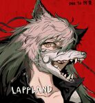 1girl absurdres animal_ears arknights artist_name black_jacket character_name collarbone deatiose fangs hair_between_eyes highres jacket lappland_(arknights) long_hair looking_at_viewer open_mouth portrait red_background silver_hair simple_background smile solo wolf_ears wolf_mask yellow_eyes