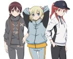3girls alternate_costume alternate_hairstyle arms_behind_head arms_up baseball_cap blonde_hair blue_eyes blush bow brown_eyes brown_hair contemporary cowboy_shot erica_hartmann gertrud_barkhorn grin hair_bow hair_through_headwear hand_in_pocket hand_on_hip hat highres jacket kaneko_(novram58) long_hair looking_at_viewer minna-dietlinde_wilcke multiple_girls ponytail red_eyes redhead short_hair simple_background smile sportswear strike_witches twintails white_background world_witches_series