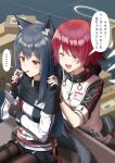 ... 2girls animal_ear_fluff animal_ears arknights barcode belt belt_pouch black_belt black_capelet black_gloves black_hair black_legwear black_shorts blush box breasts capelet cardboard_box cellphone character_name clothes_writing commentary detached_wings ear_piercing exusiai_(arknights) eyebrows_visible_through_hair eyes_visible_through_hair fingerless_gloves food gloves hair_between_eyes halo holding holding_phone hood hooded_jacket jacket long_hair mouth_hold multiple_girls name_tag one_eye_closed open_mouth orange_eyes pantyhose penguin_logistics_logo phone piercing pocky pouch red_belt redhead ri_qing short_hair short_shorts shorts sitting small_breasts smartphone smile speech_bubble spoken_ellipsis straight_hair tail texas_(arknights) white_jacket wings wolf_ears wolf_tail