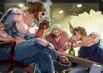 3boys alcohol artist_name bandages beard beer beer_bottle blonde_hair blue_shirt bottle brown_hair card casual chair cigar closed_eyes collarbone collared_shirt eyepatch facial_hair highres hillprime holding holding_bottle holding_card horns kazuhira_miller long_sleeves male_focus mechanical_arm metal_gear_(series) metal_gear_solid_v multiple_boys muscular open_mouth playing_card playing_games ponytail prosthesis prosthetic_arm red_shirt revolver_ocelot scar scar_on_face scar_on_nose shirt short_hair short_sleeves single_horn sitting smile smoke smoking sunglasses sweat table twitter_username venom_snake white_shirt