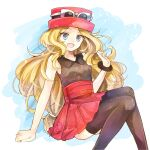 1girl arm_support blonde_hair bracelet brown_legwear commentary_request eyebrows_visible_through_hair eyewear_on_headwear grey_eyes hat highres jewelry long_hair open_mouth pleated_skirt pokemon pokemon_(game) pokemon_xy red_skirt serena_(pokemon) shirt skirt sleeveless sleeveless_shirt smile solo sunglasses thigh-highs tongue yomogi_(black-elf)