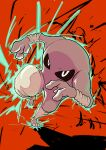 absurdres black_sclera claws colored_sclera commentary_request energy full_body gen_1_pokemon highres hitmonlee incoming_attack looking_at_viewer oriyuu pokemon pokemon_(creature) solo white_eyes