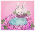 border commentary_request gen_6_pokemon goomy jeri20 looking_down no_humans open_mouth pink_background pokemon pokemon_(creature) rain reflection solid_oval_eyes water white_border