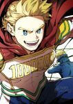 2boys blonde_hair blue_eyes bodysuit boku_no_hero_academia bright_pupils cape character_request close-up fighting_stance highres male_focus multiple_boys muscular muscular_male pectorals qina_(qinazuma_tno) red_cape short_hair smile spiky_hair togata_mirio white_bodysuit