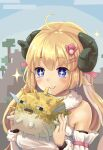 +_+ 1girl absurdres ahoge animal animal_ears bangs blonde_hair blush breasts closed_mouth commentary_request curled_horns detached_sleeves eyebrows_visible_through_hair fish fur-trimmed_sleeves fur_trim hair_between_eyes hair_ornament hairclip hands_up highres holding holding_animal hololive horns long_hair medium_breasts minecraft ohiensis puffer_fish sheep_ears sheep_girl sheep_horns smile solo sparkle tsunomaki_watame upper_body virtual_youtuber white_sleeves