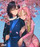 1boy 1girl arm_hug black_hair blurry blurry_background braid cherry_blossoms closed_mouth commentary depth_of_field english_commentary fingernails floral_print flower gradient_hair green_eyes green_hair haori hetero heterochromia highres holding holding_flower iguro_obanai japanese_clothes kanroji_mitsuri kimetsu_no_yaiba kimono lavelis long_hair long_sleeves medium_hair mole mole_under_eye multicolored_hair obi pink_flower pink_hair pink_kimono sash signature sitting smile snake white_snake yellow_eyes