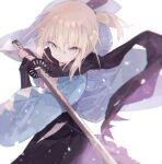 ahoge arm_guards black_bow black_scarf bow eyebrows_visible_through_hair fate/grand_order fate_(series) hair_bow haori holding holding_sword holding_weapon japanese_clothes katana kimono looking_at_viewer mizumizu_(phoenix) obi okita_souji_(fate) okita_souji_(fate)_(all) sash scarf shinsengumi solo sword weapon white_kimono yellow_eyes