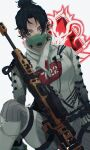 1girl absurdres apex_legends bangs black_hair blue_eyes bodysuit breasts cable glowing glowing_eyes gun hair_behind_ear hair_bun hair_over_eyes highres kraber looking_at_viewer mask medium_breasts mouth_mask parted_bangs rifle sitting sniper_rifle solo ukiyo_okashi weapon white_background white_bodysuit wraith_(apex_legends)