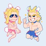 2boys all_might animal_ears blonde_hair blue_male_underwear boku_no_hero_academia boxers bulge bunny_tail chibi collar feraltintinsimp full_body highres male_focus male_underwear multiple_boys navel navel_hair nipples pectorals pink_male_underwear rabbit_boy rabbit_ears short_hair simple_background skinny smile tail thumbs_up underwear underwear_only