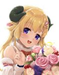 1girl animal_ears bangs blonde_hair bow commentary_request curled_horns detached_sleeves eyebrows_visible_through_hair flower fur-trimmed_sleeves fur_trim hair_ornament hairclip hand_up highres hololive horns index_finger_raised long_hair long_sleeves looking_at_viewer ohiensis pink_flower pink_rose red_bow rose sheep_ears sheep_girl sheep_horns simple_background solo tsunomaki_watame upper_body violet_eyes virtual_youtuber white_background white_flower white_sleeves