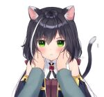 1girl :i animal_ear_fluff animal_ears anz32 bangs bare_shoulders black_hair black_sleeves blush bow brown_bow cat_ears cat_girl cat_tail closed_mouth collared_shirt commentary_request detached_sleeves eyebrows_visible_through_hair green_eyes hair_between_eyes hair_bow hands_on_another's_cheeks hands_on_another's_face karyl_(princess_connect!) long_hair long_sleeves looking_at_viewer low_twintails multicolored_hair out_of_frame princess_connect! princess_connect!_re:dive shirt simple_background sleeveless sleeveless_shirt solo_focus streaked_hair tail tail_raised twintails twitter_username upper_body white_background white_hair white_shirt