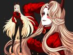 1girl big_hair blonde_hair breasts charlie_magne cneko-chan colored_sclera demon demon_girl demon_horns eyebrows_visible_through_hair eyes_visible_through_hair hazbin_hotel hell horns jacket long_hair looking_at_viewer one_eye_covered pale_skin queen red_fur red_horns red_sclera tuxedo yellow_eyes