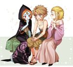 1boy bandages bare_shoulders beige_dress black_cape black_dress blonde_hair blue_eyes blue_skin blush breasts brown_pants cape child collarbone colored_skin commentary_request dress facing_to_the_side fang hair_ribbon hood hood_up hooded_cape jacket link long_hair looking_at_another midna midna_(true) ninto off-shoulder_dress off_shoulder open_mouth orange_hair pants pink_jacket pointy_ears princess_zelda print_dress red_eyes ribbon shirt sitting sleeveless sleeveless_shirt smile sparkle sparkle_background the_legend_of_zelda the_legend_of_zelda:_twilight_princess tress_ribbon triforce_print upper_teeth younger