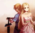1boy 1girl back-to-back bangs bare_shoulders blonde_hair blue_shirt closed_mouth collarbone commentary_request dress earrings frown gloves hands_on_hilt holding holding_sword holding_weapon jewelry link long_hair long_sleeves looking_down master_sword ninto pointy_ears ponytail princess_zelda sheath sheathed shirt short_over_long_sleeves short_sleeves strapless strapless_dress sword the_legend_of_zelda the_legend_of_zelda:_breath_of_the_wild tunic weapon white_dress