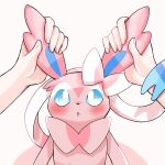 1other :o blue_eyes blush commentary_request ear_grab ears gen_6_pokemon highres holding looking_up open_mouth pokemon pokemon_(creature) surumeika_(ninfiiiir) sylveon tongue