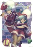 ! 1boy 1girl bag blue_hair boots bow breasts byleth_(fire_emblem) byleth_(fire_emblem)_(female) byleth_(fire_emblem)_(male) christmas commentary_request eyebrows_visible_through_hair feet_out_of_frame fire_emblem fire_emblem:_three_houses gift gloves hair_between_eyes hat holding holding_bag kasu_(96ks_3h) looking_at_viewer medium_breasts medium_hair merry_christmas pantyhose ribbon santa_boots santa_costume santa_dress santa_gloves santa_hat stuffed_animal stuffed_toy teddy_bear