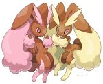 2girls :3 alternate_color animal_ears artist_name black_sclera body_fur brown_fur bunny_tail chromatic_aberration closed_mouth colored_sclera commentary flat_chest full_body furry gen_4_pokemon hands_up happy highres knees_together_feet_apart looking_at_viewer lopunny multiple_girls open_mouth pink_eyes pink_fur pokemon pokemon_(creature) rabbit_ears rabbit_girl rorosuke shiny_pokemon simple_background smile standing tail twitter_username two-tone_fur watermark white_background yellow_fur