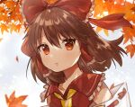1girl autumn autumn_leaves blue_sky blurry blurry_background bow brown_hair commentary cravat day detached_sleeves eyebrows_visible_through_hair hair_between_eyes hair_blowing hair_bow hair_tubes hakurei_reimu highres leaf light_particles looking_at_viewer maple_leaf outdoors parted_lips red_eyes red_vest ribbon-trimmed_sleeves ribbon_trim short_hair sky solo standing suicchonsuisui touhou upper_body vest yellow_neckwear