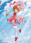 1girl :d ahoge angel_wings antenna_hair bangs bow brown_hair cardcaptor_sakura clouds commentary dress floating floating_object full_body gloves green_eyes hair_intakes hat high_heels highres holding holding_staff kimopoleis kinomoto_sakura looking_at_viewer open_mouth petals pink_dress pink_headwear puffy_short_sleeves puffy_sleeves red_bow red_footwear shoe_bow shoes short_hair short_sleeves sky smile solo staff thigh-highs white_gloves white_legwear wings zettai_ryouiki