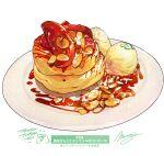 cake cream dessert food food_focus highres ice_cream momiji_mao no_humans nut_(food) original pastry plate sauce signature simple_background single_scoop still_life white_background