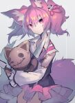 1girl animal_ear_fluff animal_ears arknights bow burnt_clothes commentary_request doll eyebrows_visible_through_hair fox_ears fox_tail hair_ornament highres holding holding_doll holding_knife knife looking_at_viewer pink_bow pink_eyes pink_hair pink_ribbon pink_skirt ribbon sasa_onigiri shamare_(arknights) sketch skirt solo standing stuffed_toy tail tied_hair twintails