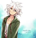 1boy bangs closed_mouth collarbone commentary_request danganronpa_(series) danganronpa_2:_goodbye_despair dated gradient gradient_background green_jacket grey_eyes hair_between_eyes happy_birthday jacket komaeda_nagito long_sleeves looking_at_viewer male_focus messy_hair multicolored multicolored_background nico_(nico_alice) open_clothes open_jacket shirt smile solo upper_body white_hair