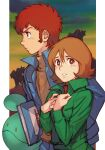 1boy 1girl amuro_ray blue_jacket book brown_eyes brown_hair framed frau_bow freckles green_jacket gundam haro holding holding_book hungry_clicker jacket long_sleeves looking_at_viewer looking_to_the_side mecha mobile_suit_gundam parted_lips red_shirt redhead retro_artstyle shirt short_hair yellow_shirt zaku_ii