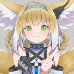 1girl animal_ears arknights bangs bare_shoulders blue_hairband blush braid brown_hair closed_mouth commentary_request dotted_line eyebrows_visible_through_hair fhang flying_sweatdrops fox_ears fox_girl fox_tail gloves green_eyes grey_background hair_rings hairband hands_up kitsune looking_at_viewer multicolored_hair purple_gloves shirt single_glove solo suzuran_(arknights) tail twin_braids two-tone_hair wavy_mouth white_hair white_shirt