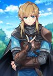 1boy armor bangs belt black_cape black_gloves black_sweater blonde_hair blue_eyes blue_shirt blue_sky brown_belt cape closed_mouth clouds commentary_request day fingerless_gloves gloves highres hood hood_down hooded_cape link long_sleeves looking_at_viewer male_focus medium_hair ninto outdoors pointy_ears ribbed_sweater shirt short_over_long_sleeves short_sleeves shoulder_armor sky smile solo sweater the_legend_of_zelda the_legend_of_zelda:_breath_of_the_wild tree tunic upper_body v