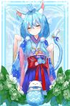 1girl absurdres ahoge animal_ears bangs bell blue_hair blue_hakama blue_kimono cat_ears cat_girl cat_tail cowboy_shot daifuku_(yukihana_lamy) ear_piercing floral_print flower hair_between_eyes hair_ornament hair_over_shoulder hairclip hakama head_tilt heart_ahoge highres hololive japanese_clothes kimono kkamaku light_blush long_hair long_skirt looking_at_viewer low_twintails multicolored_hair nervous_smile obi obiage obijime paw_pose piercing pleated_skirt pom_pom_(clothes) ribbon rope sash shimenawa shirt skirt smile solo streaked_hair tail tail_bell tail_ornament tail_ribbon twintails virtual_youtuber white_shirt yellow_eyes yukihana_lamy