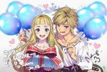 1boy 1girl :d balloon bangs blonde_hair blue_eyes blunt_bangs blush box breasts collarbone commentary_request dated gift gift_box heart highres holding holding_balloon jewelry link long_hair long_sleeves looking_at_viewer lower_teeth ninto open_mouth pointy_ears princess_zelda shirt short_hair shrit smile star_(symbol) striped the_legend_of_zelda the_legend_of_zelda:_skyward_sword translation_request upper_body upper_teeth white_shirt