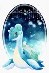 closed_mouth full_body gen_1_pokemon highres horns lapras looking_to_the_side neejyu no_humans pokemon pokemon_(creature) signature single_horn smile solo yellow_eyes