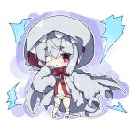 1girl bandage_over_one_eye bandaged_leg bandages bangs blush bow chibi claws commentary dragon_wings eyebrows_visible_through_hair full_body grey_wings hair_between_eyes hood hood_up khezu milkpanda monster_hunter navel parted_lips personification red_bow red_eyes silver_hair solo standing thick_eyebrows wings