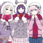 3girls :o airani_iofifteen airani_iofifteen_(artist) bangs beige_sweater beret blue_hair blue_skirt blunt_bangs blush bright_pupils collaboration fang fur_trim gradient_hair grey_hair grey_jacket hat highres hololive hololive_english hololive_indonesia hood hood_up indie_virtual_youtuber jacket mole mole_under_eye mole_under_mouth multicolored_hair multiple_girls ninomae_ina'nis ninomae_ina'nis_(artist) open_mouth pink_hair pink_sweater pleated_skirt pochi_(pochi-goya) pochimaru_(vtuber) purple_hair red_scarf red_skirt scarf shared_scarf sharp_teeth skin_fang skirt striped striped_skirt sweater teeth tentacle_hair virtual_youtuber white_background white_headwear white_pupils