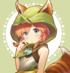 1girl animal_ears armor bangs bare_shoulders blue_eyes blush breastplate brown_hair character_request closed_mouth commentary_request defense_of_the_ancients dota_2 ears_through_headwear eyebrows_visible_through_hair green_background hair_between_eyes hood hood_up jokanhiyou long_hair looking_at_viewer signature solo starry_background striped_tail tail two-tone_background upper_body white_background