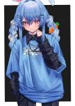 1girl animal_ears baggy_clothes black_background black_shirt blue_hair blue_sweater border braid carrot_hair_ornament chain_necklace earrings eyebrows_visible_through_hair food_themed_hair_ornament hair_between_eyes hair_intakes hair_ornament hairclip hand_on_own_neck highres hololive jewelry kmgrru long_hair multicolored_hair orange_eyes rabbit_ears rabbit_girl shirt short_eyebrows simple_background sleeves_past_wrists sweater twin_braids two-tone_hair usada_pekora virtual_youtuber white_border white_hair wing_collar x_hair_ornament