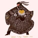 1girl bangs black_eyes black_footwear dated feathers from_behind full_body hair_feathers high_heels highres long_sleeves looking_at_viewer original procreate_(medium) profile signature solo standing tomidoron wide_sleeves