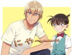 2boys amuro_tooru arms_at_sides bangs black-framed_eyewear blonde_hair blue_eyes blue_pants blue_vest blush border bow bowtie brown_hair child collared_shirt commentary_request edogawa_conan glasses grin happy k_(gear_labo) looking_at_viewer male_focus meitantei_conan multiple_boys outside_border pants red_bow red_neckwear shirt short_hair short_sleeves simple_background smile teeth upper_body vest white_border white_shirt yellow_background