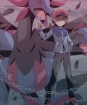 1boy 343rone artist_name bangs baseball_cap belt belt_buckle black_pants blue_jacket brown_hair buckle chain closed_mouth commentary_request gen_5_pokemon grey_eyes hand_on_hip hand_up hat highres hilbert_(pokemon) hydreigon jacket light_frown long_sleeves male_focus pants pokemon pokemon_(creature) pokemon_(game) pokemon_bw red_footwear shoes short_hair standing watermark zipper_pull_tab