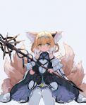 1girl animal_ear_fluff animal_ears arknights bangs bare_shoulders black_gloves blonde_hair blue_hairband blue_skirt eyebrows_behind_hair feet_out_of_frame frilled_skirt frills fujimaki_nora gloves green_eyes grey_background hair_between_eyes hairband highres holding holding_staff infection_monitor_(arknights) looking_at_viewer multicolored_hair multiple_tails pantyhose parted_lips pleated_skirt sidelocks simple_background single_glove sitting skirt solo staff suzuran_(arknights) tail two-tone_hair white_hair white_legwear