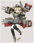 1girl absurdres adapted_turret anchor_hair_ornament aqua_eyes black_legwear black_skirt blonde_hair cannon commentary_request dated full_body gloves grey_background hair_ornament hat highres inica kantai_collection long_hair low_twintails machinery microskirt military military_hat military_uniform peaked_cap pleated_skirt prinz_eugen_(kantai_collection) signature simple_background skirt solo thigh-highs turret twintails uniform white_gloves