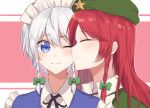 2girls beret blue_eyes blush braid cheek_kiss closed_eyes hat hat_ornament hong_meiling izayoi_sakuya kiss liangyilin maid maid_headdress multiple_girls one_eye_closed redhead silver_hair star_(symbol) star_hat_ornament touhou twin_braids yuri