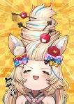 1girl alternate_hairstyle animal_ears blonde_hair blush bow buck_teeth closed_eyes club_hair_ornament commentary_request diamond_hair_ornament fennec_fox fox_ears fox_girl hair_bow hair_ornament hair_up highres holofive hololive mikan_(chipstar182) omaru_polka open_mouth playing_card_theme smile solo spade_hair_ornament virtual_youtuber