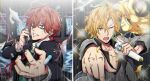 2boys blonde_hair blue_eyes flower formal green_neckwear hair_between_eyes highres holding holding_microphone holding_phone hypnosis_mic izanami_hifumi jacket jewelry kannonzaka_doppo kpaoi lanyard long_sleeves looking_at_viewer male_focus microphone multiple_boys necklace necktie official_style phone redhead rose shirt short_hair striped suit