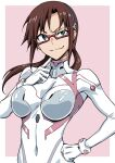 1girl blue_eyes breasts brown_hair closed_mouth eyebrows_visible_through_hair glasses green_eyes hand_on_hip highres long_hair looking_at_viewer makinami_mari_illustrious neon_genesis_evangelion plugsuit rebuild_of_evangelion red-framed_eyewear simple_background smile solo tyotyotyori upper_body